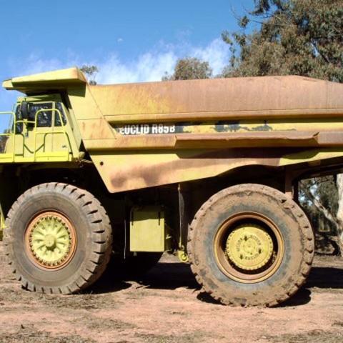 Blast and spray painting of mining trucks