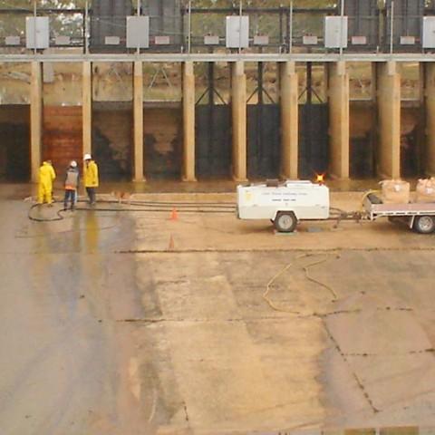 Ferneyhurst Weir sandblasting job